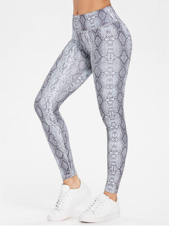 women Snake Print Workout Sports Leggings - GRAY M
