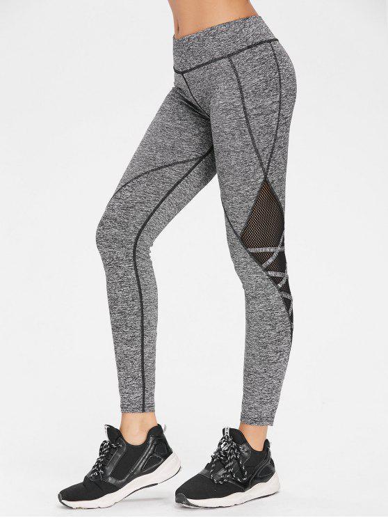 ladies Crisscross Marled Mesh Panel Gym Leggings - ASH GRAY L
