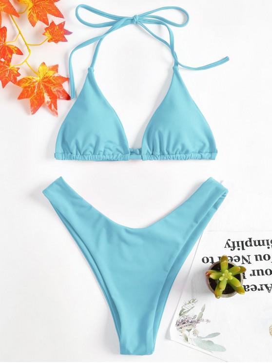 latest High Leg Halter Bikini Set - LIGHT BLUE M