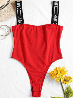Letter Straps High Cut Bodysuit - Love Red S
