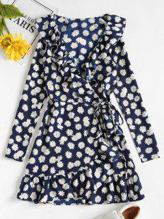 Daisy Print Ruffle Mini Wrap Dress - Midnight Blue S