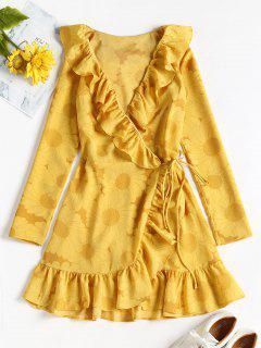 Vestido Con Pliegues Y Volantes Estampado De Girasol - Vara De Oro M