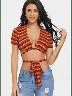 Stripe Bowknot Twist Crop Tee - Red S