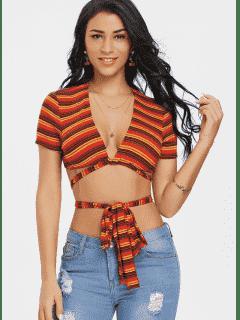 Stripe Bowknot Twist Crop Tee - Red Xl
