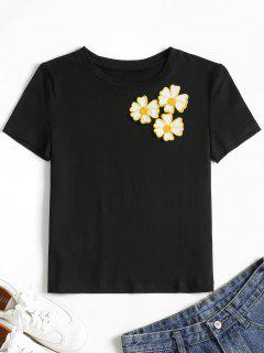 Embroidered Floral Applique Tee - Black L