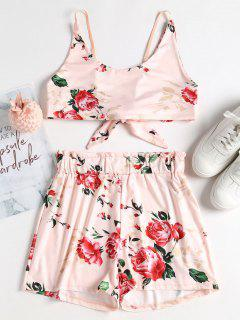 Floral Tie Back Crop Top And Shorts Set - Pearl M