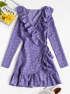 Vestido Con Estampado De Volantes Y Estampado Floral - Mimosa Púrpura M
