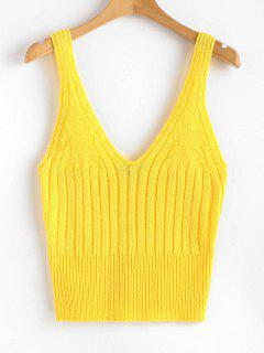 V Neck Ribbed Sweater Tank Top - Bright Yellow