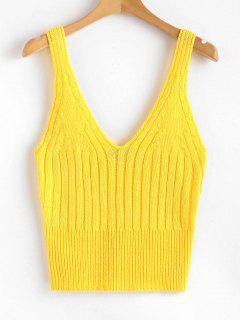 Camiseta Sin Mangas Acanalada Con Cuello En V - Amarillo Brillante