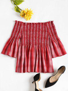 Checked Off The Shoulder Smocked Top - Bean Red M