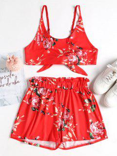 Floral Tie Back Crop Top And Shorts Set - Ruby Red S