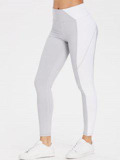Colourblock High Waisted Sports Gym Leggings - Light Gray L