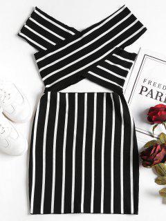 Vestido Mini Con Hombros Descubiertos Cruzados - Negro M