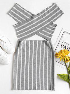 Cross Off The Shoulder Mini Bodycon Dress - Light Gray M