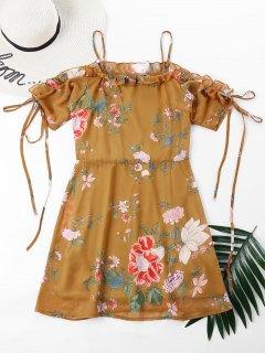 Floral Print Cami Ruffles Dress - School Bus Yellow S