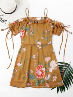 Floral Print Cami Ruffles Dress - School Bus Yellow Xl