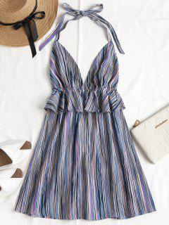 Ruffles Striped Halter Dress - Multi L
