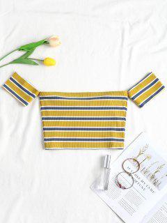 Stripes Off Shoulder Tee - Multi L