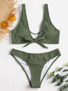Bowtie Ribbed Scrunch Butt Bikini - Army Green L