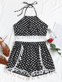 Floral Print Tassels Shorts Set - Black L