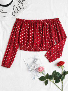 Ruffles Polka Dot Blouse - Red Wine M