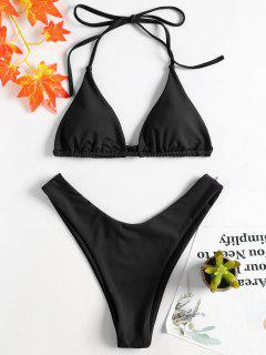 High Leg Halter Bikini Set - Black S