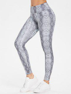 Snake Print Workout Sports Leggings - Gray L
