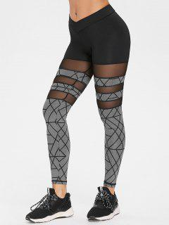 Geometric Print Mesh Gym Leggings - Gray L