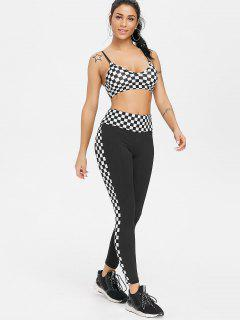 Gingham Sports Bra Leggings Sweat Suit - Black L
