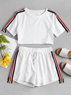 Stripes Patched Shorts Set - White L