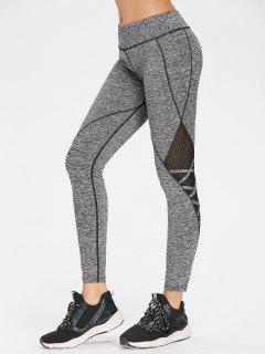 Crisscross Marled Mesh Panel Gym Leggings - Ash Gray L