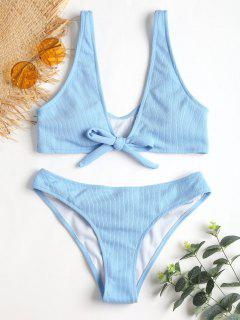 Bowtie Ribbed Scrunch Butt Bikini - Azul Claro M