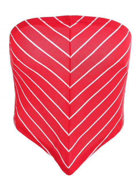 new Tie Back Striped Scarf Bandeau Top - LAVA RED 2XL Mobile