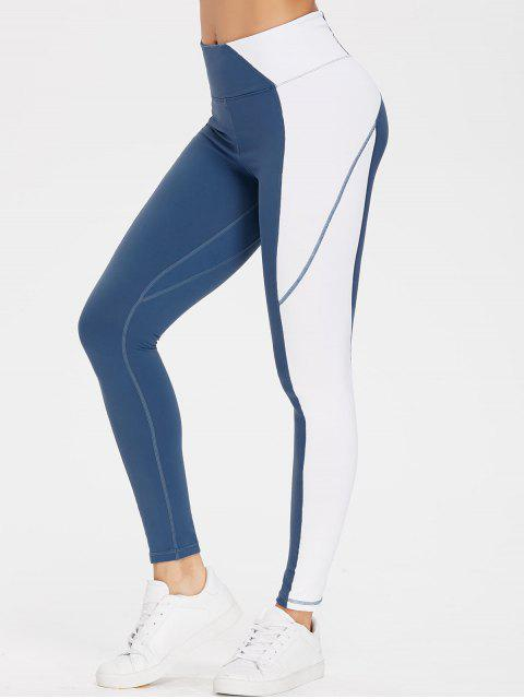 latest Colourblock High Waisted Sports Gym Leggings - SILK BLUE S Mobile