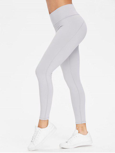 affordable Performance Sports Leggings - LIGHT GRAY L Mobile