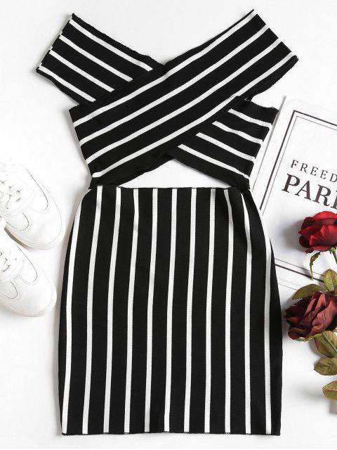Kreuzen Sie das Schulter Mini Bodycon Kleid - Schwarz 2XL Mobile