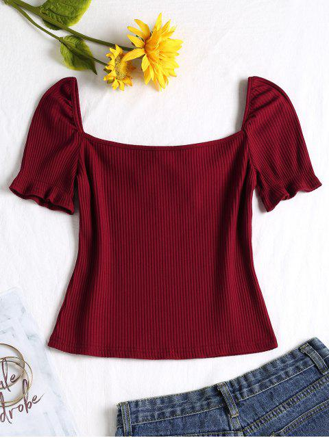 lady Square Collar Knot Tee - RED WINE S Mobile