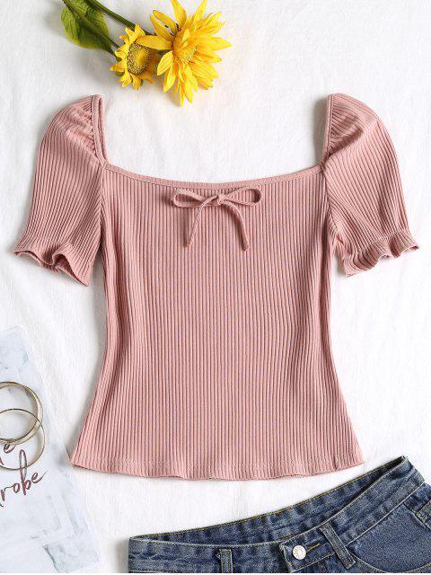 T-shirt Noué à Col Carré - Rose Léger  M Mobile