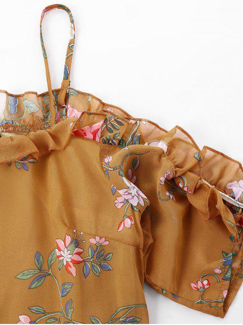 new Floral Print Cami Ruffles Dress - SCHOOL BUS YELLOW XL Mobile