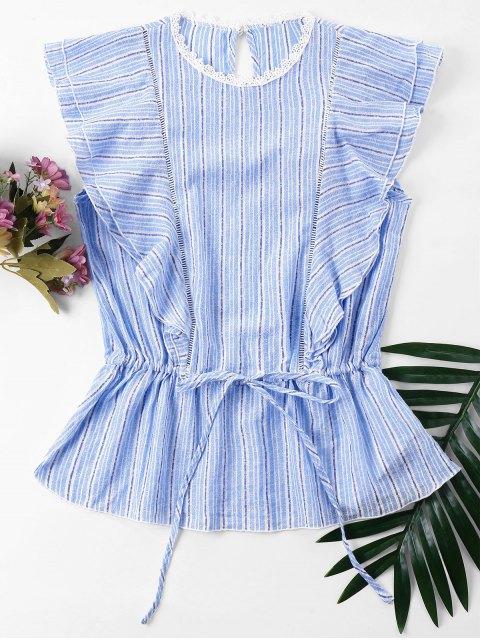 outfits Striped Ruffles Blouse - POWDER BLUE XL Mobile