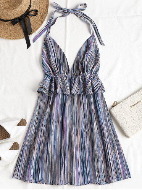 affordable Ruffles Striped Halter Dress - MULTI L Mobile