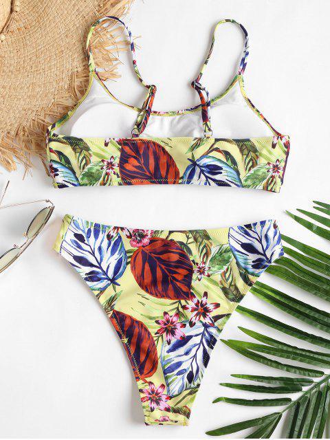 lady High Cut Cami Print Bikini - YELLOW L Mobile