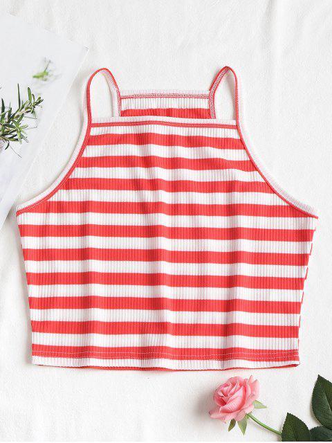 Stripes Cropped Cami Top - Rojo Frijol L Mobile