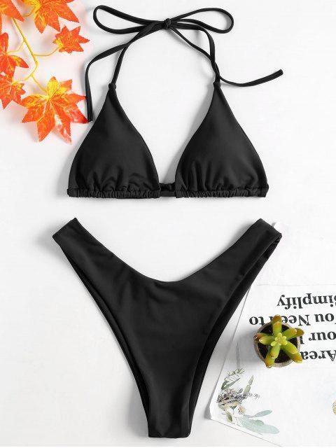 Ensemble Bikini à Col Halter à Jambes Hautes - Noir S Mobile