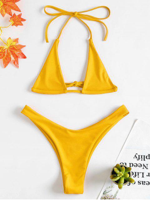 Halter Micro Bikini Set - Helles Gelb S Mobile