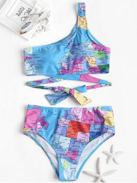 Bikini une Epaule à Noeud et Imprimé de Carte - Bleu Royal M Mobile