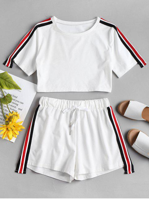 Conjunto de pantalón corto rayado rayas - Blanco L Mobile