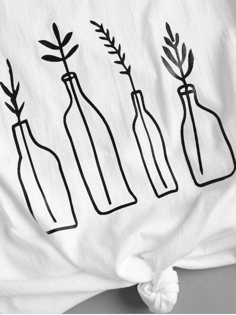 trendy Bottle Plant  Graphic Oversized Tee - WHITE XL Mobile