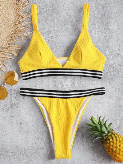 Ribbed Contrast Stripe Bikini - Yellow S