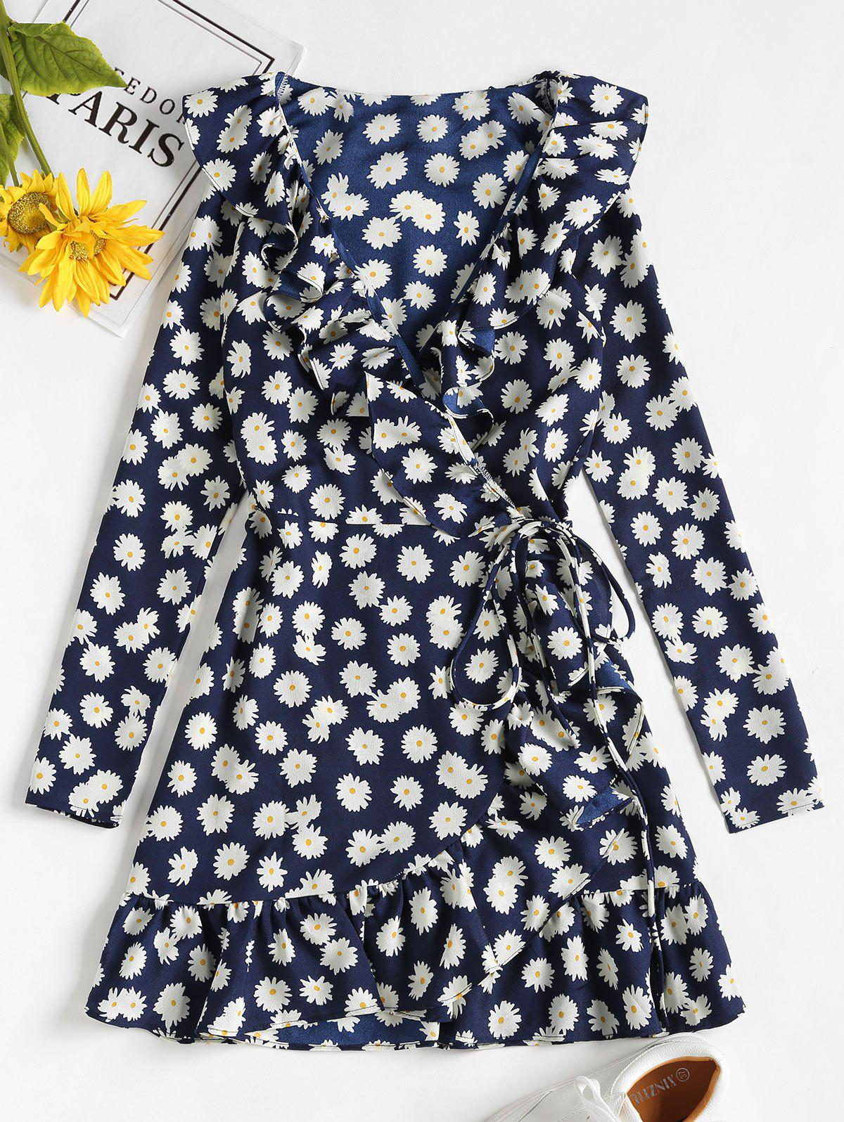 Daisy Print Ruffle Mini Wrap Dress